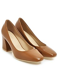 cheap -Women's Wedding Shoes Chunky Heel Square Toe Wedding Pumps Wedding Daily PU Synthetics Almond Brown