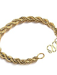 cheap -Mens 18k Gold Stainless Steel Curb Chain Link Bracelet (Gold, Gold-Plated-Stainless-Steel)