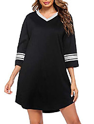 cheap -Women's Nightgown, Cotton Novelty Sleepshirts V Neck Short Sleeve Sleep Shirt Loose Comfy Pajama Sleepwear S-XXL