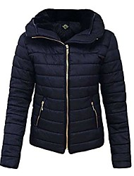 cheap -women ladies plus size puffa padded bubble quilted jacket size 8-26 navy