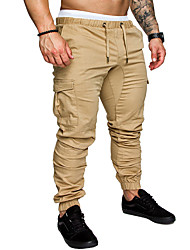 cheap -Hiking Pants Men's Basic Plus Size Daily wfh Sweatpants / Cargo Pants - Solid Colored Spring Fall Navy Blue Khaki Light gray XXL XXXL XXXXL