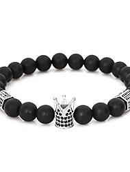 """cheap -8mm black matte onyx stone micro pave cz zirconia king crown charm stretch bracelet for men 7.5"""" (silver)"""