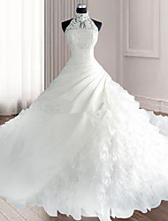 cheap -Ball Gown Wedding Dresses Halter Neck Court Train Organza Sleeveless Sexy Wedding Dress in Color with Appliques 2020