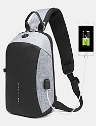 cheap -men oxford anti-theft usb charging multi-pocket waterproof outdoor crossbody bag chest bag sling bag