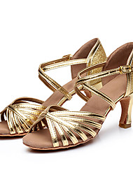 cheap -Women's Dance Shoes Latin Shoes Heel Buckle Flared Heel Gold Silver Buckle Adults'