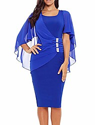 cheap -womens chiffon plus size ruffle flattering cape sleeve business wear to work bodycon party pencil dress elegant dresses for women evening party blue