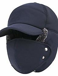 cheap -Winter Warm Facemask Cap, 3 in 1 Bomber Hat with Full Face Ear Flap, Men Trapper hat with Fur Lined (Navy Blue)