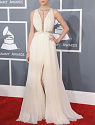 cheap -A-Line Celebrity Style Sexy Prom Formal Evening Dress V Neck Sleeveless Floor Length Chiffon with Pleats Split 2020