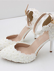 cheap -Women's Wedding Shoes Stiletto Heel Pointed Toe Wedding Pumps Wedding Walking Shoes PU Rhinestone Pearl Buckle Floral Picture section 9 cm heel height