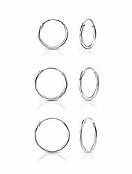 cheap -Hoops/Sleepers Earrings in Silver - Thickness 1.5 mm - Diameter 14, 16 & 18 mm