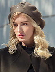 cheap -Headwear Casual / Daily Acrylic / Cotton / Rabbit Hair Hats with Beading / Solid 1pc Casual / Daily Wear Headpiece