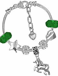 cheap -girls magical unicorn sparkly crystal charm bracelet(8. green crystal beads)