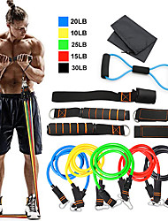 cheap -Resistance Band Set 12 pcs 5 Stackable Exercise Bands Door Anchor Legs Ankle Straps Sports TPE Home Workout Pilates Heavy-duty Carabiner Strength Training Muscular Bodyweight Training Muscle Building