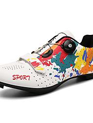 cheap -Adults' Bike Shoes Road Bike Shoes Bike Shoes With Cleats Anti-Slip Breathable Cushioning Mountain Bike MTB Cycling / Bike Recreational Cycling White Black Women's Men's Cycling Shoes