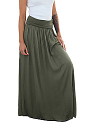 cheap -Women's Daily Wear Skirts Solid Colored Black Green