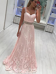 cheap -A-Line Sexy Floral Engagement Prom Dress Sweetheart Neckline Sleeveless Floor Length Lace Taffeta with Appliques 2021
