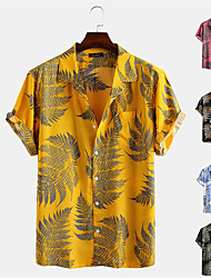 cheap -Men's Shirt Other Prints Floral Button-Down Short Sleeve Street Regular Fit Tops Casual Fashion Hawaiian Breathable Yellow Blushing Pink Green / Machine wash / Wet and Dry / Washable / Comfortable
