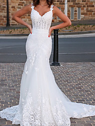 cheap -Mermaid / Trumpet Wedding Dresses V Neck Sweep / Brush Train Lace Tulle Sleeveless Country Romantic with Appliques 2021