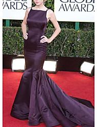cheap -Mermaid / Trumpet Celebrity Style Elegant Prom Formal Evening Dress Spaghetti Strap Sleeveless Court Train Satin with Pleats 2021