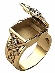 cheap -Men's Ring with Secret Compartment Mini Clamshell Storage Box Design Retro Carved Band Rings Punk Hip Hop Party Jewelry Unique Gift for Men Women Rapper Biker Gold Color Size 6-14