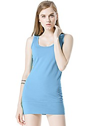 cheap -Womens Stretch Scoop Neck Ribbed Cotton Extra Long Tank Tops (L, Light Blue)