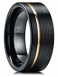 cheap -8mm Black Tungsten Wedding Ring Thin Side 18K Rose Gold Grooved Brushed Wedding Band Engagement Ring Size 13