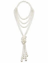 cheap -1920s Faux Pearls Necklace Vintage Costume Long Flapper Pearls Accessories White