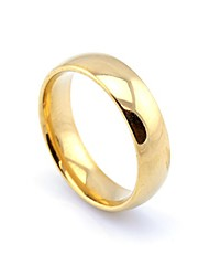 cheap -18k Gold Plated Men's Women's Stainless Steel Wedding Band Ring (6mm Wide - Size S)