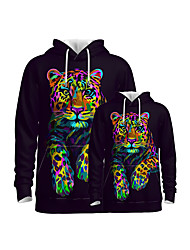 cheap -Family Look Active Tiger Graphic Optical Illusion Animal Print Long Sleeve Regular Hoodie & Sweatshirt Rainbow