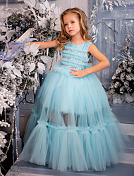 cheap -Princess / Ball Gown Floor Length Wedding / Party Flower Girl Dresses - Tulle Sleeveless Jewel Neck with Solid / Tiered