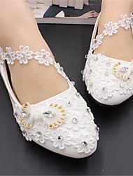 cheap -Women's Wedding Shoes Flat Heel Round Toe Wedding Flats Wedding Walking Shoes PU Rhinestone Pearl Floral Flat bottom [2020 version standard code] 3 cm heel [standard size] 5 cm heel [standard size]