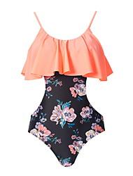 cheap -Women's One Piece Bikini Swimsuit Racerback Open Back Print Floral Stripe Blushing Pink Swimwear Padded Strap Bathing Suits New Cute Sweet / Tattoo / Padded Bras / Slim