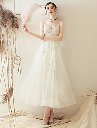 cheap -Princess A-Line Wedding Dresses V Neck Ankle Length Lace Tulle Sleeveless Romantic Sexy Little White Dress with Appliques 2020