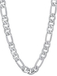 cheap -men's 5.7mm rhodium plated flat figaro chain necklace, 22 inches