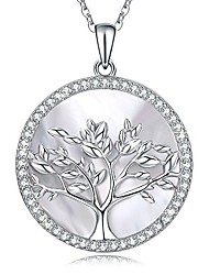 cheap -women tree of life sterling silver mother of pearl pendant necklace crystals from swarovski(silver necklace)