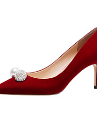 cheap -Women's Wedding Shoes Pumps Pointed Toe Casual Daily Walking Shoes Suede Pearl Solid Colored Red