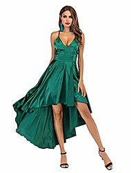 cheap -prom dresses satin green sexy deep v neck bandage back asymmetric hem elegant engagement anniversary occasion dresses for women (l=uk10, green)