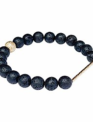 cheap -Women's Black Lava Rock Bracelet. 8mm Natural Semi Precious Gemstone Beaded Stretch Bracelets. Gold Filled Detail. Handmade Healing Crystals Chakra Energy Bangle
