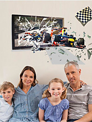 cheap -3D Effect Racing Car Broken Wall Car Wall Paste Children's Room Living Room Study Background Wall Decoration Can Be Removed