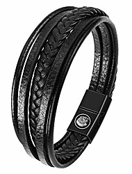cheap -mens leather bracelet – classic handmade multi-layer leather braided black cuff bracelet with engraved magnetic clasp free jewelry gift boxed (20.5)
