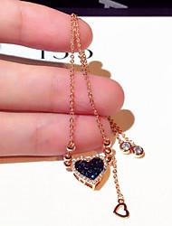 cheap -Women's Clear Cubic Zirconia Bracelet Geometrical Heart Stylish Simple Alloy Bracelet Jewelry Gold For Daily Promise