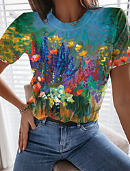 cheap -Women's Floral Theme T shirt Floral Graphic Print Round Neck Tops Basic Basic Top Blue