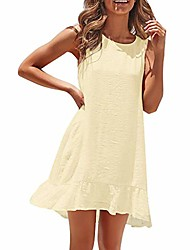 cheap -dress women solid sleeveless ruffle hem mini o-neck dresses for holiday party evening sundress bohemian ankle-length gown(yellow,s)