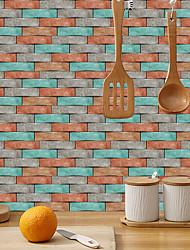 cheap -imitation retro ceramic tile kitchen sticker waterproof and oilproof orange green square brick flake self-adhesive decorative wall sticker 15cm*30cm*6pcs