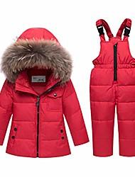 cheap -Baby Tollder Kid Boy Girl Winter Hooded Fur Down Parka Puffer Jacket+Snow Pants 2-Piece Snowsuit Skisuit Set(Red,3-4T)
