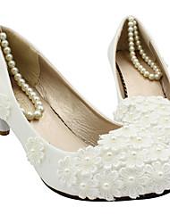 cheap -Women's Wedding Shoes Chunky Heel Pointed Toe Wedding Pumps Wedding Walking Shoes PU Pearl Floral Flat bottom [2020 version standard code] 3 cm heel [standard size] 5 cm heel [standard size]