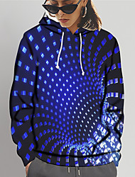 cheap -Women's Pullover Hoodie Sweatshirt Graphic 3D Print Daily Going out 3D Print Basic Hoodies Sweatshirts  Blue