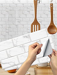 cheap -15*30cm*6pcs imitation retro ceramic tile kitchen stickers waterproof and oil-proof piano white sheet self-adhesive decorative wall stickers