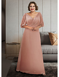 cheap -A-Line Mother of the Bride Dress Plus Size Elegant V Neck Ankle Length Chiffon Half Sleeve with Ruching 2021