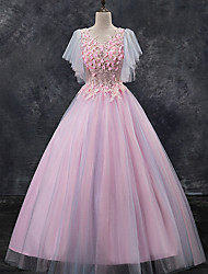 cheap -Ball Gown Elegant Floral Quinceanera Formal Evening Dress Scoop Neck Short Sleeve Floor Length Tulle with Pleats Lace Insert Appliques 2021